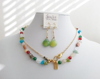 Gemstone Set,Long Necklace & Gift Earring's,Knotting,Multicolor,Natural Gemstones Set,Gift for her,New mom,Everyday Jewelry,Sister's Gift.