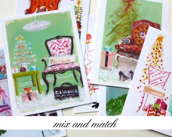 Holiday Cards, Christmas Cards, Interior Decor Scenes, Furniture, Holiday Correspondence, Christmas Note Cards, Set of Eight, Mix and Match