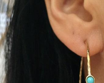 SALE WAS 58.00 Turquoise Hoops, Turquoise Earrings, Large Hoops, Hoop Earrings,Gold Hoops