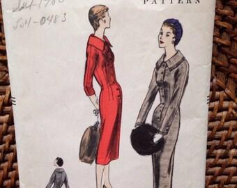 1955 vintage vogue dress pattern #3627