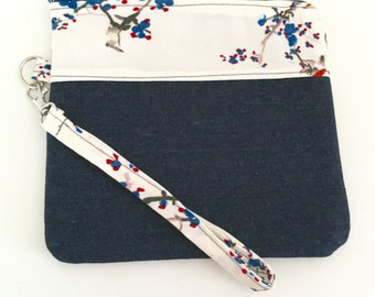 Red, white and blue bird print with denim wristlet with ginkgo lining