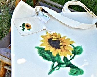 CottonTote Bag - Water Color Sunflower with small bonus bag