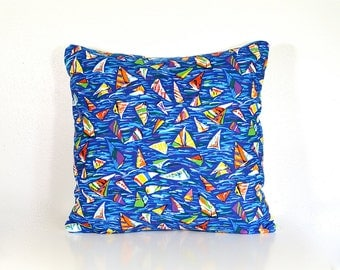 Nautical Pillow Cover - 18 Inch - Vintage Fabric with Colorful Modern Sailboats