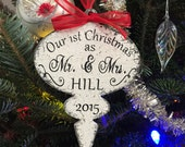 Our First Christmas Ornament, Mr and Mrs Christmas Ornament, Shabby Chic Ornament, Vintage Ornament, 4 x 6