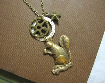 Squirrel Necklace Steampunk Gear Woodland Animal Antique Brass Gear Women's Steampunk Charm Necklace Vintage Watch Part Numbers Star Charm