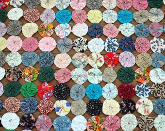Awesome Yo Yo Quilt Multi-colored Vintage Fabrics - Large  - 96x96