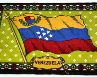 Venezuelan Flag Flannel Felt Cigarettes Insert Vintage Tobacco Old Antique