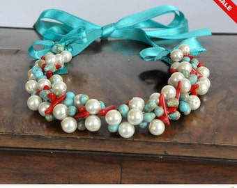 Sale - Turquoise Coral Pearl Necklace,casual holiday jewelry,Christmas Jewelry Gift for Her,Beaded Statement Necklace,Red Collar Choker Nec