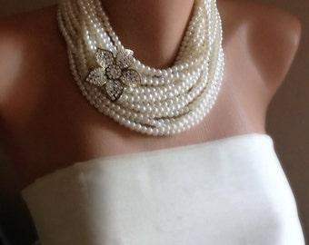 Handmade Pearl Choker, Pearl Necklace, Multi Strand Ivory Pearl Choker, Rhinestone Brooch Necklace, Bridal Jewelry, Weddings