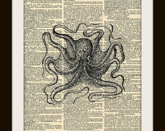 Art Print OCTOPUS 8x10  Dictionary Gold Gilded Vintage Page