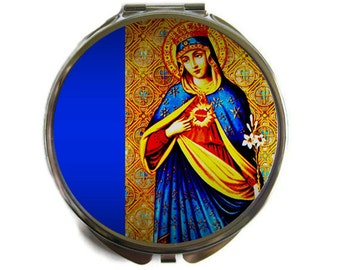 Immaculate Heart of Mary Compact Mirror Pocket Mirror Large