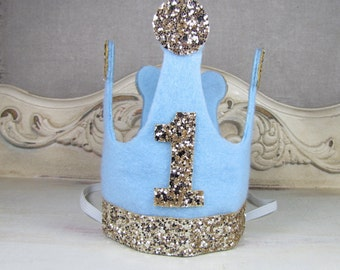 Boy First Birthday Crown/ Blue And Gold Glitter Crown/Birthday Party Boy Hat/Photo Prop/ Prince/Smash Cake
