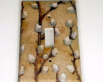 Single Switch Plate Light Switch Cover  Wall Decor  Switchplate  in Salix Tan (280S)