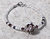 Purple & white Pearl Seed Beaded Bracelet, Amethyst Lampwork Focal Flower Bead, size 7 Crystals, Pewter Findings, Lobster clasp,  #1179