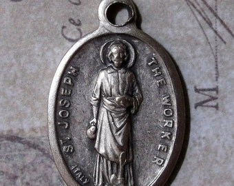 CLEARANCE Italian Medal Saint Joseph The Worker Protector Of Fathers, Patron Of Carpenters, & Crafters, Holy Catholic Medal Pray For Us