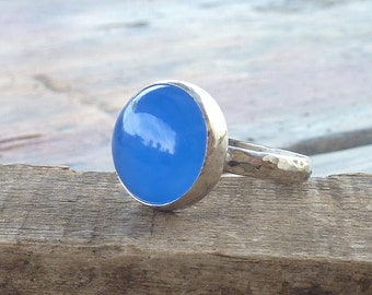 Blue Chalcedony Gemstone Ring,  Blue Stone Ring, Sterling Silver cocktail Ring, Gemstone Ring, statement ring, bridesmaid gifts