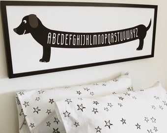 Monochromatic Decor, Minimalist Nursery Decor, Dog Art Print for Kids, Boys Room Decor, Kids Dog Wall Art, Weiner Dog Art, Black and White