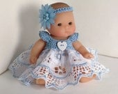 """Crochet and Lace Dress for 5"""" Berenguer Lots to Love doll, PaulineAnneCrochet. Blue Heart"""