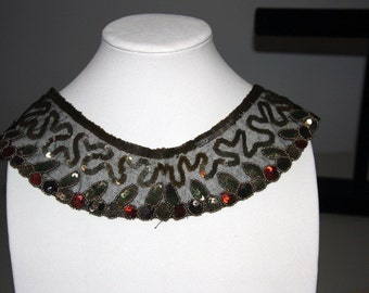 Vintage 1920s  Deco Sequin Collar Made In Belgium