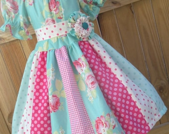 Ready to Ship Custom Boutique Tanya Whelan Lola Girl Dress Spring Flowers  Size 6 or 7