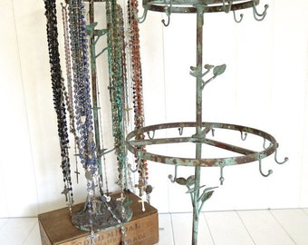 CLEARANCE 2 layer tall french rustic bird jewelry stand with 21 hooks - distressed vintaged green