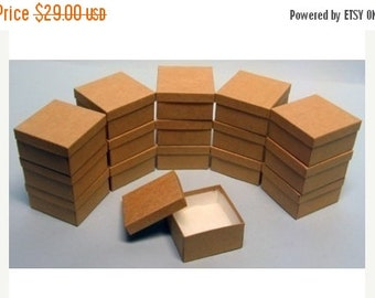Halloween Stock Up Sale 50 Pack Kraft Color Deep Cotton Filled Jewelry Retail Gift Boxes 3.5 X 3.5 X 2 Inch Size Wholesale