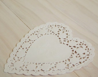 "Valentines Day Sale Heart Doilies 4"" White french lace scalloped edged Qty 25"