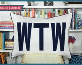 FILL'ER UP Large Applique Monogram Standard Pillow Sham - Single - Standard Size 20 x 26