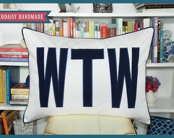 FILL'ER UP Large Applique Monogram Standard Pillow Sham - Single - Standard Size 20 x 26