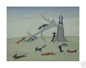 Dachshunds (doxies) living dangerously frolicking with skunks / Lynch signed folk art print