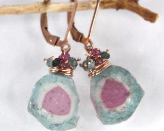 Watermelon Tourmaline Earrings in Gold, Blue Watermelon Tourmaline Slice Earrings