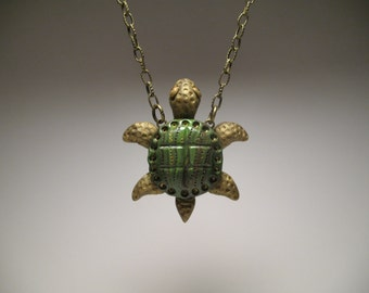 Green Turtle Necklace - Polymer Clay Jewelry - Art Sculpture