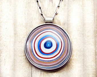 Fordite jewelry, fordite necklace, gift for her, gift for wife, girlfriend gift, Detroit Agate necklace, statement necklace, bullseye, round