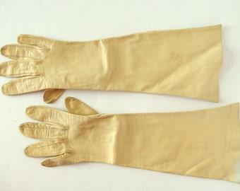 Old Gold Three Quarter Length Vintage Soft Kid Leather Gloves, Size 6.5