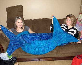 Adult Mermaid Tail Lapghan Cocoon or Blanket Knitting Pattern  - PDF 415a - INSTANT DOWNLOAD -- Circular and Back-and-Forth Options Included