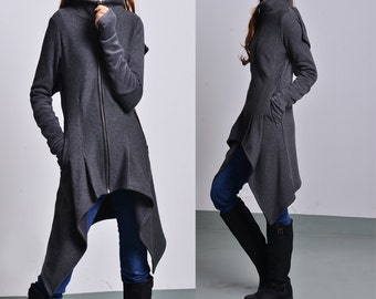 Wanderer - thick cotton fleece jacket / asymmetrical hoodie jacket / cowl neck cotton fleece jacket/ gray sport jacket (Y1528)