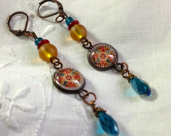 oSO COMPASS OSo aqua/red/yellow brass earrings