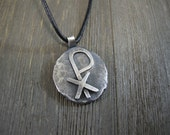 handmade chi rho pendant, sterling Christian chi rho pendant, primitive, organic, oxidized, on black leather, unisex Christian pendant