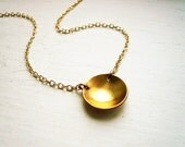 Reflecting Pool Necklace in Gold Filled - Dainty Gold Circle Necklace, Simple Jewelry