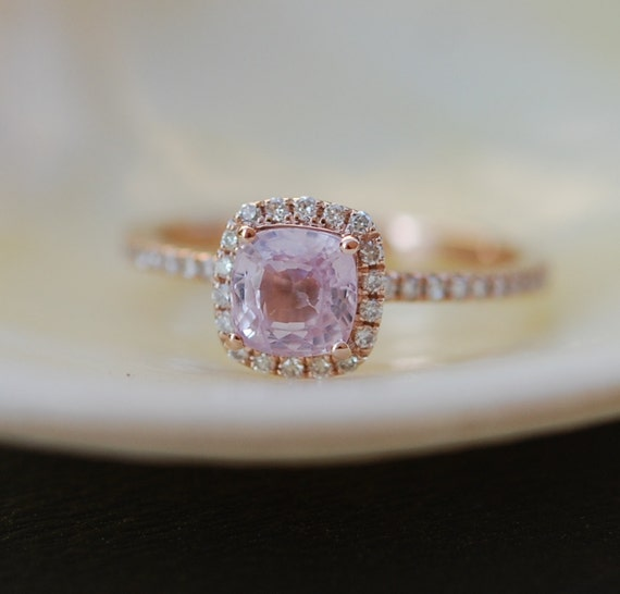 Rose Gold Engagement ring Smokey Peach Sapphire by EidelPrecious