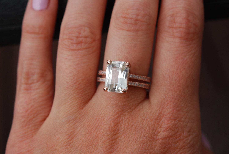 Emerald Cut Engagement Ring Blake Lively Ring White Sapphire Engagement Ring  14k Rose Gold Diamond Ring 475ct Sapphire Engagement Ring
