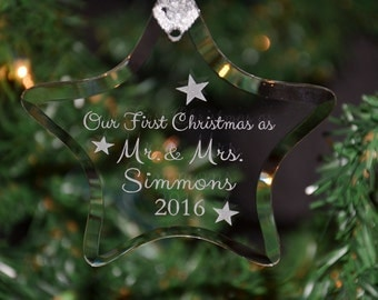 Personalized Engraved Couples First Christmas Keepsake Glass Star Ornament, 1st Holiday Mr & Mrs Ornament, Custom Ornament - ORN19