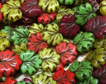 Maple Leaf Beads Coral Red Green Yellow Dark Red Mix Czech Pressed Glass Maple Leaf Beads 10 x 13mm 20 Beads
