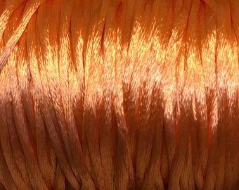 Peach Satin Rattail Cord 1mm 6 yards for Macrame Kumihimo Knotting