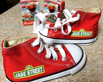 Personalized Infant and Kids Custom Sesame Street High Top Converse Shoes