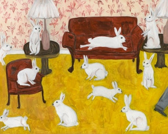 Lennie's rabbits.  Original oil painting by Vivienne Strauss