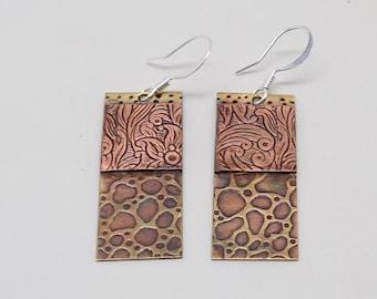 Steampunk mixed metal jewelry earrings. Steampunk jewelry earrings.