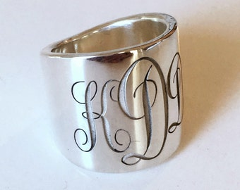 Monogrammed Tapered Wide Heavy Cigar Ring Band Sterling Silver Custom Made Engraved Personalize