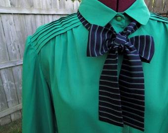 Vintage Kelly Green Eighties Preppy Classy Blouse With Tie