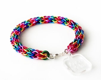 Chainmaille Bracelet - RAINBOW - chain link bracelet, lgbt jewelry, pride bracelet, renaissance faire jewelry, chainmaille jewelry